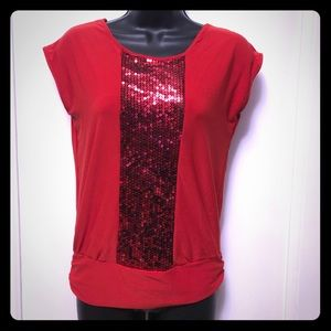 Stunning Red Shirt with Sequined Detail